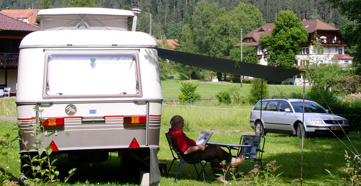 Caravan pitch nearby the river Enz